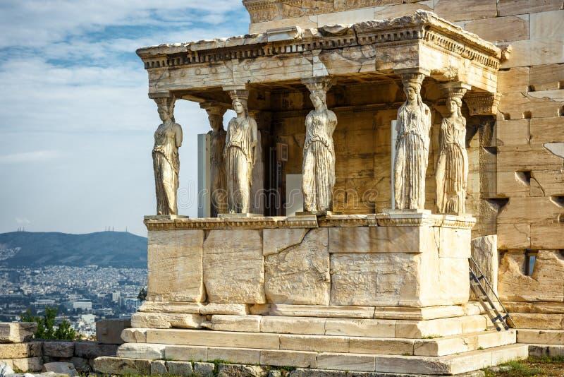 Kariatyda ganeczek Erechtheion na akropolu Ateny obraz stock