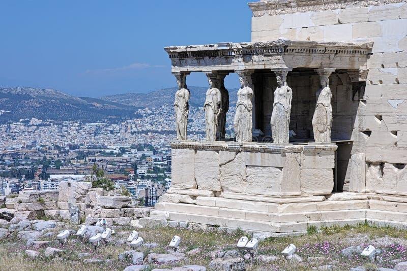 Kariatyda ganeczek Erechtheion w Ateny obraz royalty free