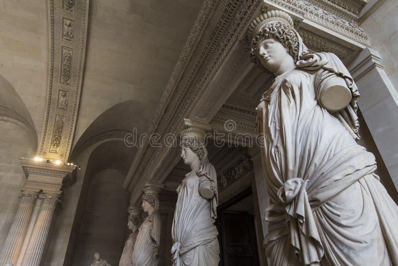 Kariatyda pokój louvre, Paryż, Francja zdjęcie royalty free