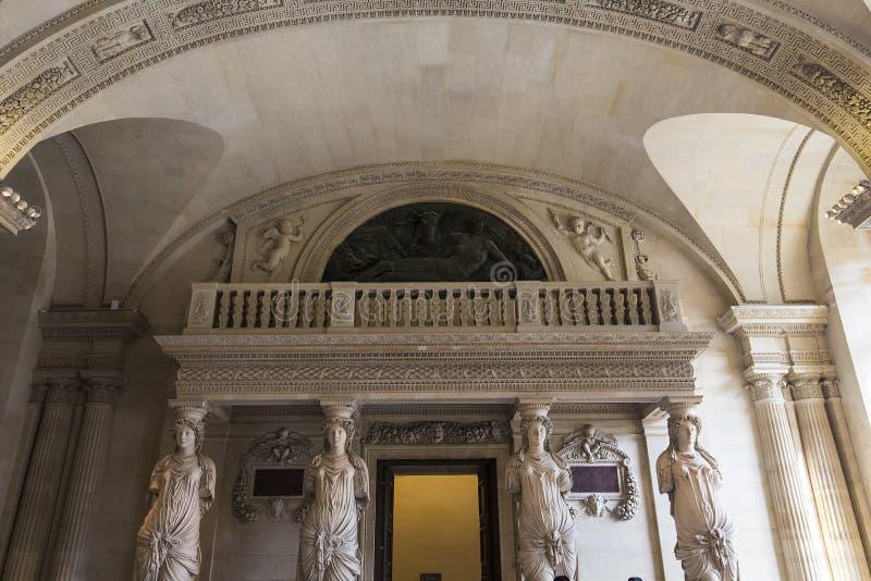 Kariatyda pokój louvre, Paryż, Francja zdjęcia royalty free