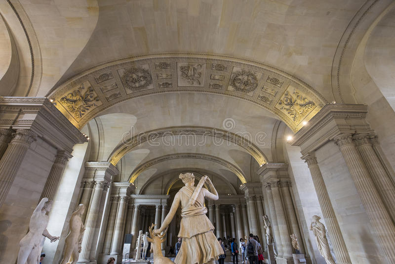 Kariatyda pokój louvre, Paryż, Francja fotografia royalty free