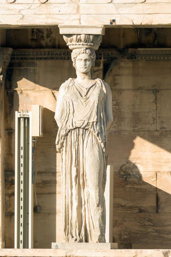 Kariatyda portret przy akropolem w Grecja zdjęcie stock