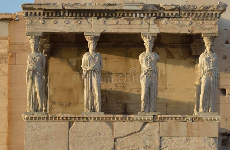 Kariatydy Erechteion, Parthenon na akropolu w Ateny zdjęcia stock