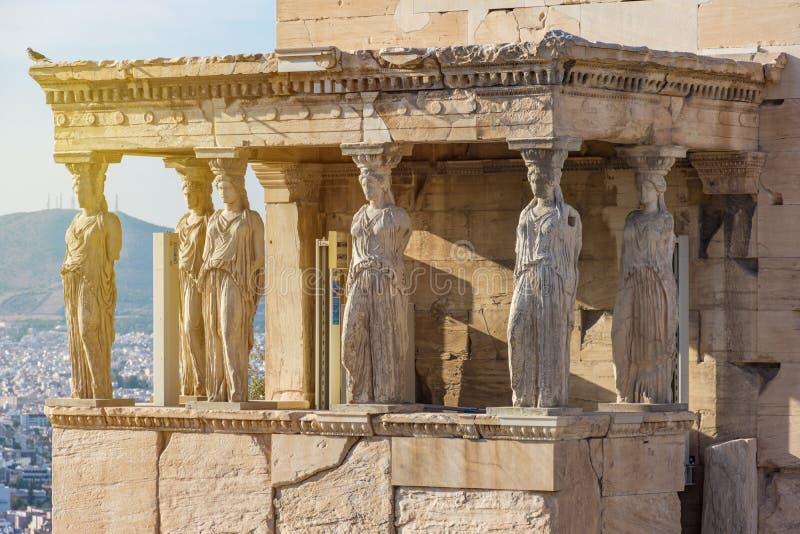 Kariatydy Erechtheion w akropolu, Ateny Grecja obraz royalty free