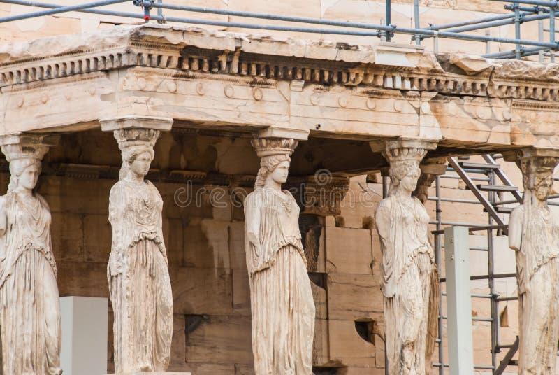 Kariatydy od Aphrodite świątyni na Parthenon, Ateny Grecja obrazy royalty free
