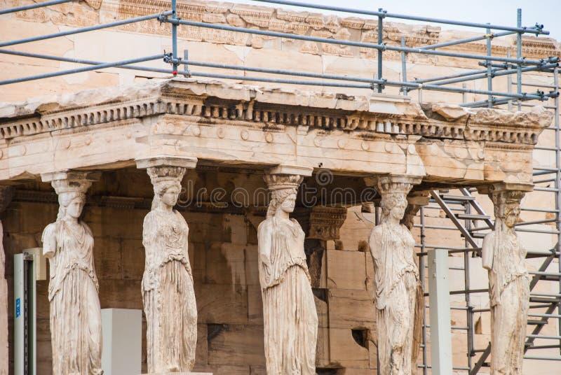Kariatydy od Aphrodite świątyni na Parthenon, Ateny Grecja zdjęcie stock