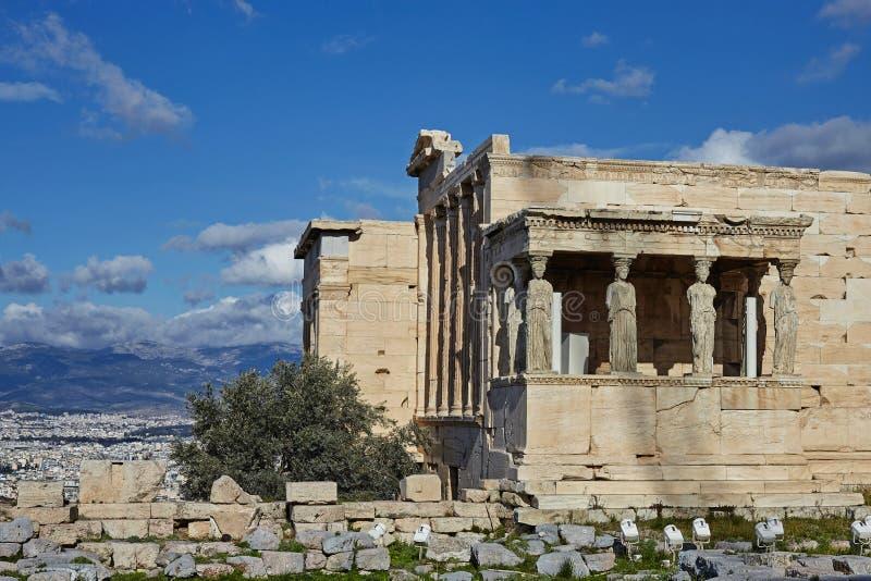 Kariatydy przy świątynią Erectheion, akropol, Ateny zdjęcia stock