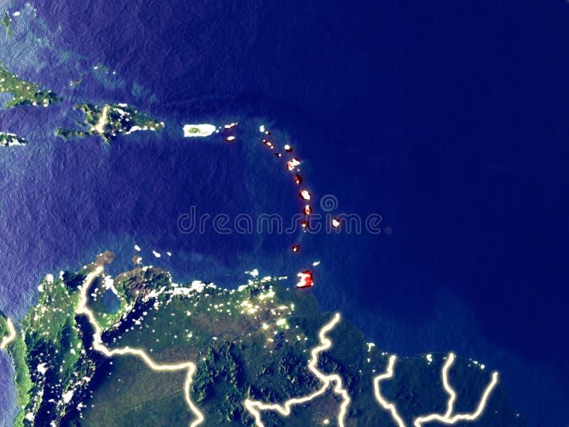 Karibische Meere auf Erde nachts stockfoto