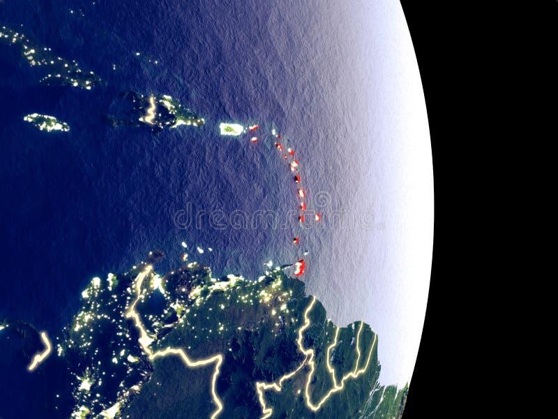 Karibische Meere auf Nachterde lizenzfreie stockbilder
