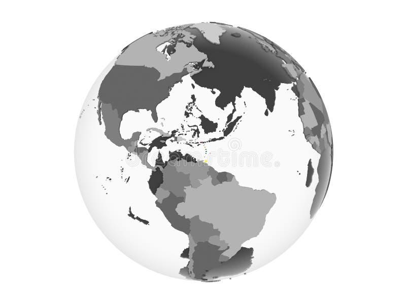 Karibische Meere mit Flagge auf der Kugel lokalisiert stock abbildung