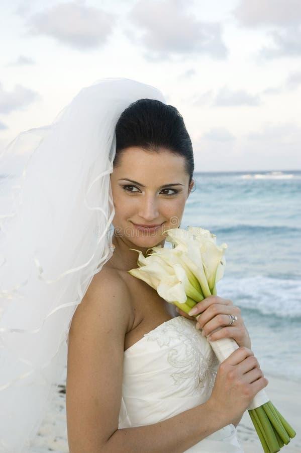 Karibische Strand-Hochzeit - Brid stockfotos