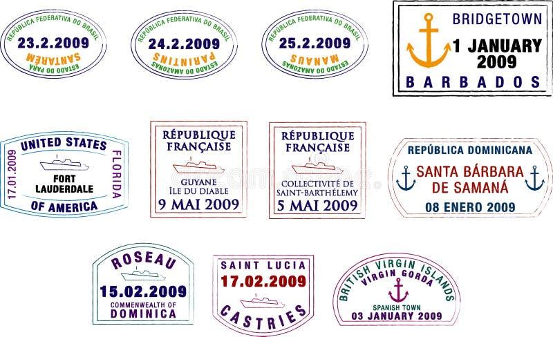 Karibische und südamerikanische Pass-Stempel lizenzfreie abbildung