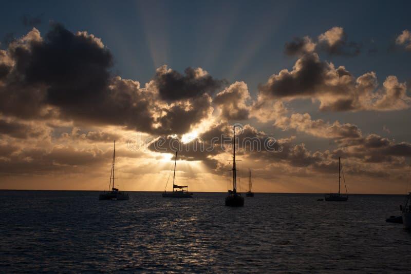 Karibischer Sonnenuntergang stockfotografie