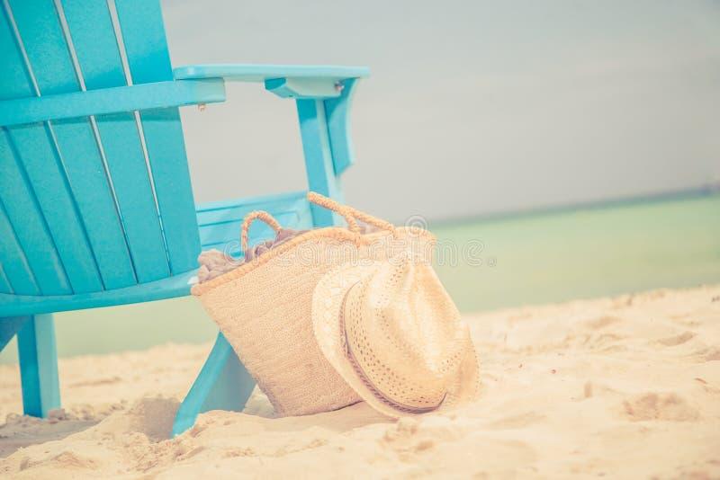 Karibischer Strandstuhl stockbilder