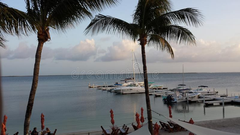 Karibisches Paradies - Palmen und Boote lizenzfreie stockbilder