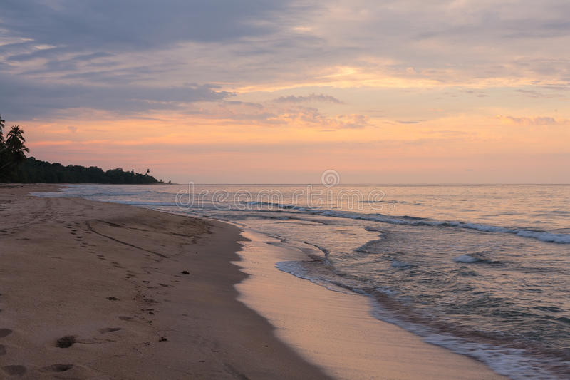 Karibisk kust på skymning - Costa Rica arkivbilder