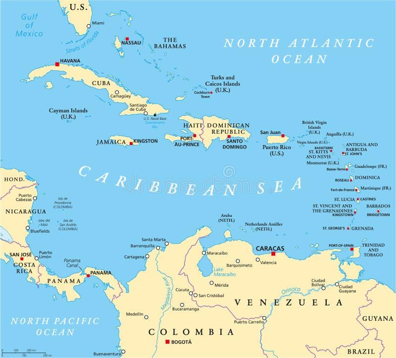 Karibisk politisk översikt royaltyfri illustrationer