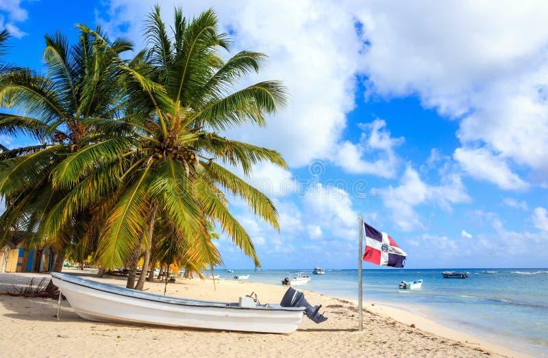 Karibisk strand i Dominikanska republiken royaltyfria foton