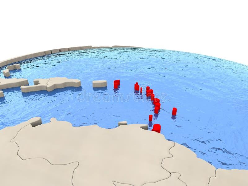 Karibiskt på jordklotet med vattniga hav vektor illustrationer