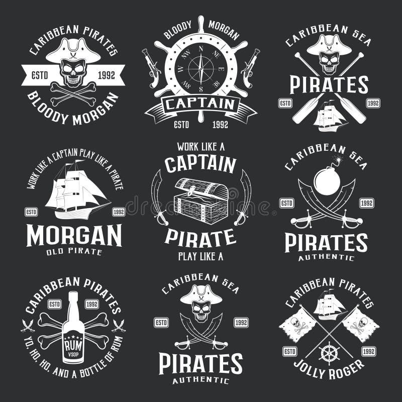Karibiskt piratkopierar monokromma emblem vektor illustrationer