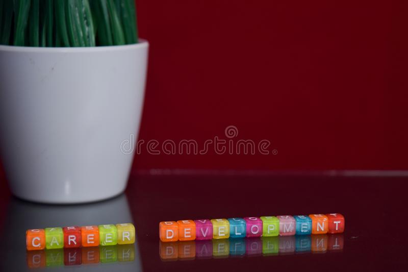 Kariera rozwoju tekst przy kolorowym drewnianym blokiem na czerwonym tle Biurka biuro i edukacji pojęcie zdjęcie stock