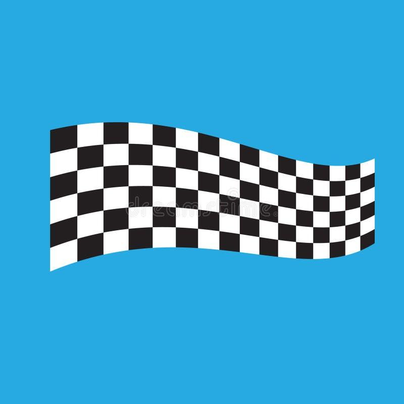 Karierte laufende Flagge lokalisiert auf Blau stock abbildung
