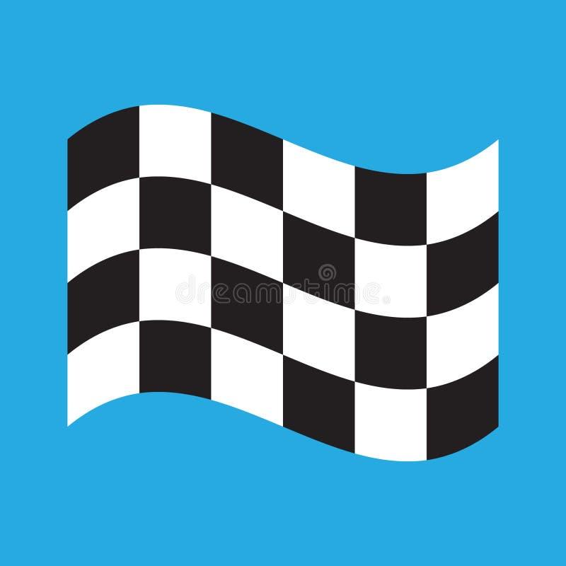Karierte laufende Flagge lokalisiert auf Blau lizenzfreie abbildung