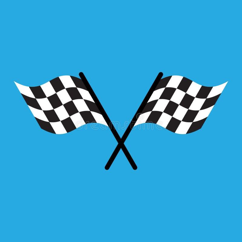 Karierte laufende Flagge lokalisiert auf Blau vektor abbildung