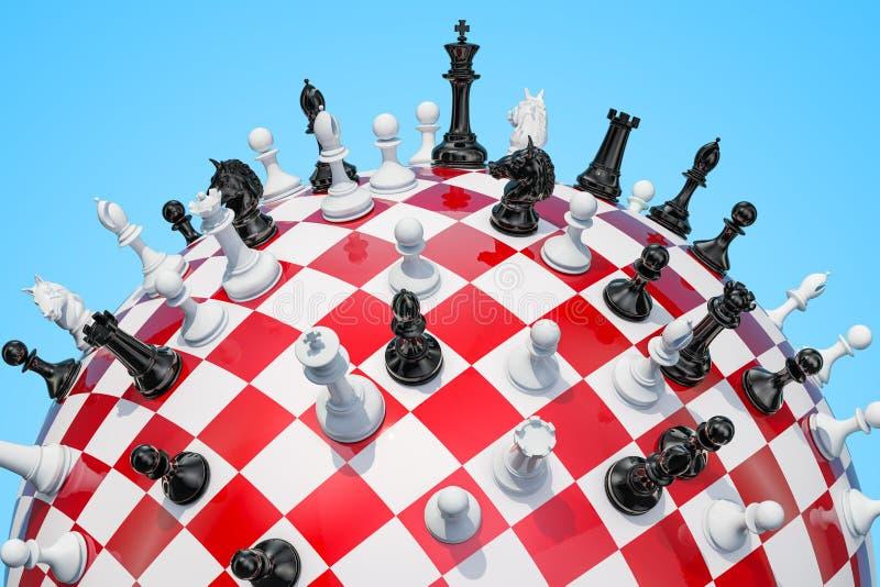 Karierter Bereich, Schachbrett mit Schachfiguren Wiedergabe 3d vektor abbildung
