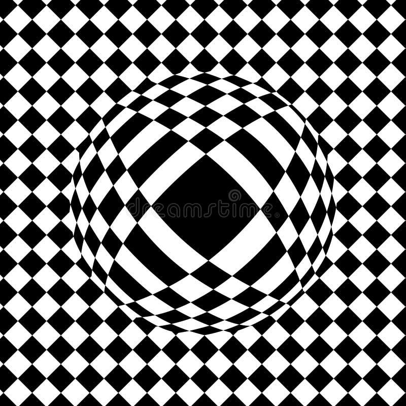 Karierter Hintergrund, optische Täuschung, Tropfen auf der Fliese, balloo stock abbildung