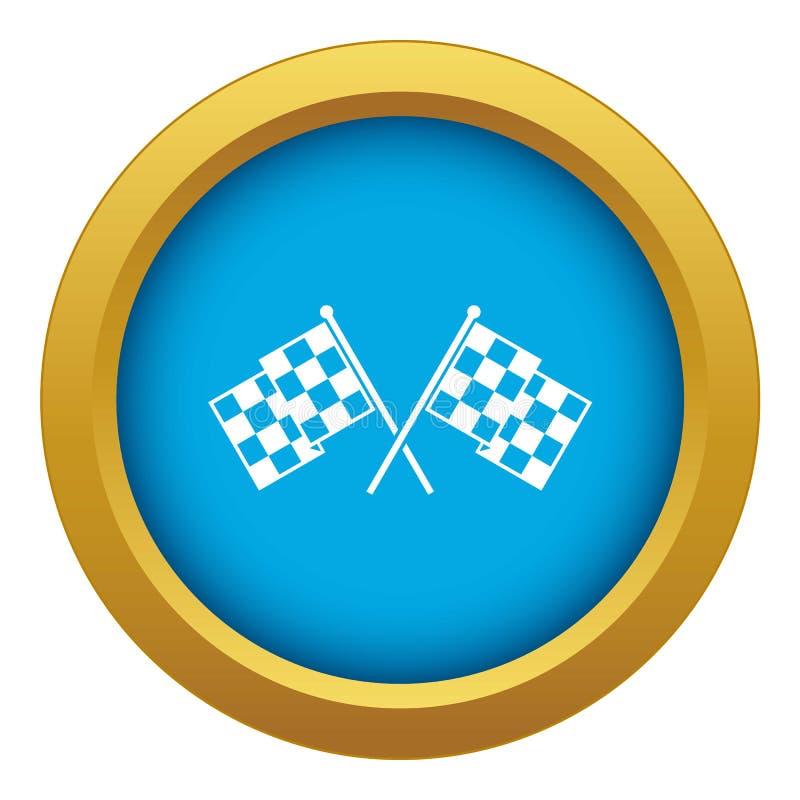 Karierter laufender blauer Vektor der Flaggenikone lokalisiert lizenzfreie abbildung