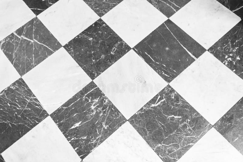 Karierter Marmorschwarzweiss-boden Marmorbeschaffenheit, Hintergrund stockbild
