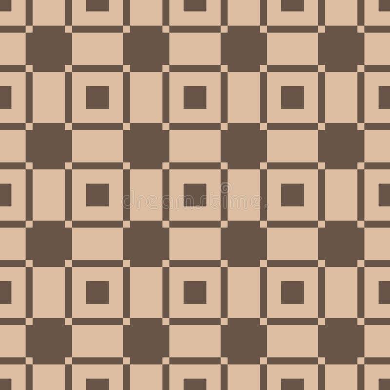 Karierter Plaidgewebehintergrund Brown-nahtloses Muster stock abbildung