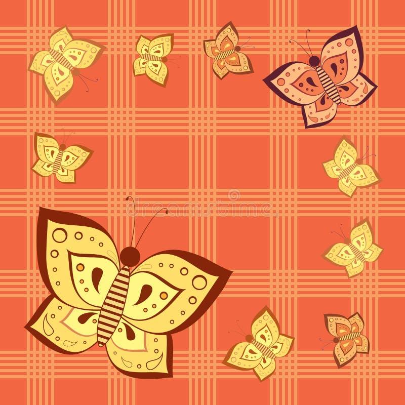 Kariertes nahtloses Muster des Schmetterlinges stock abbildung