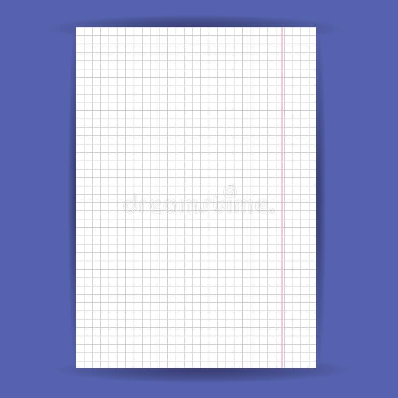 Kariertes Notizbuchpapier auf blauem Hintergrund Vektor stock abbildung