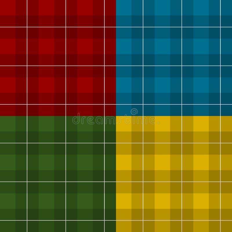 Kariertes quadratisches Plaid des Holzfällers vier Farb lizenzfreie abbildung