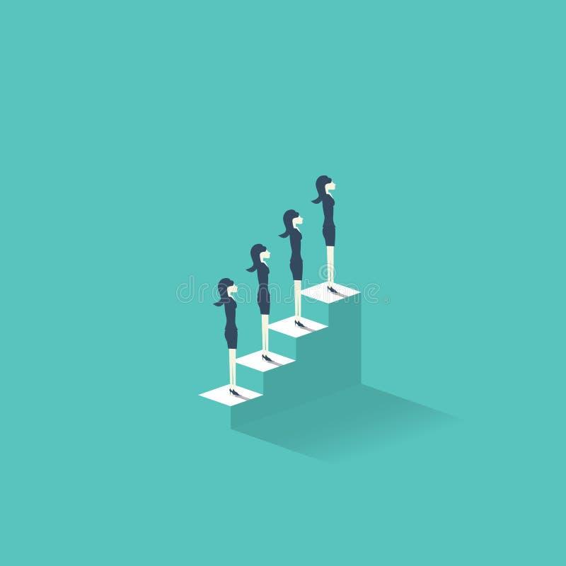 Kariery wzrostowy wektorowy ilustracyjny pojęcie z bizneswomanami stoi na schodkach wierzchołek Emancypacyjny symbol dla royalty ilustracja