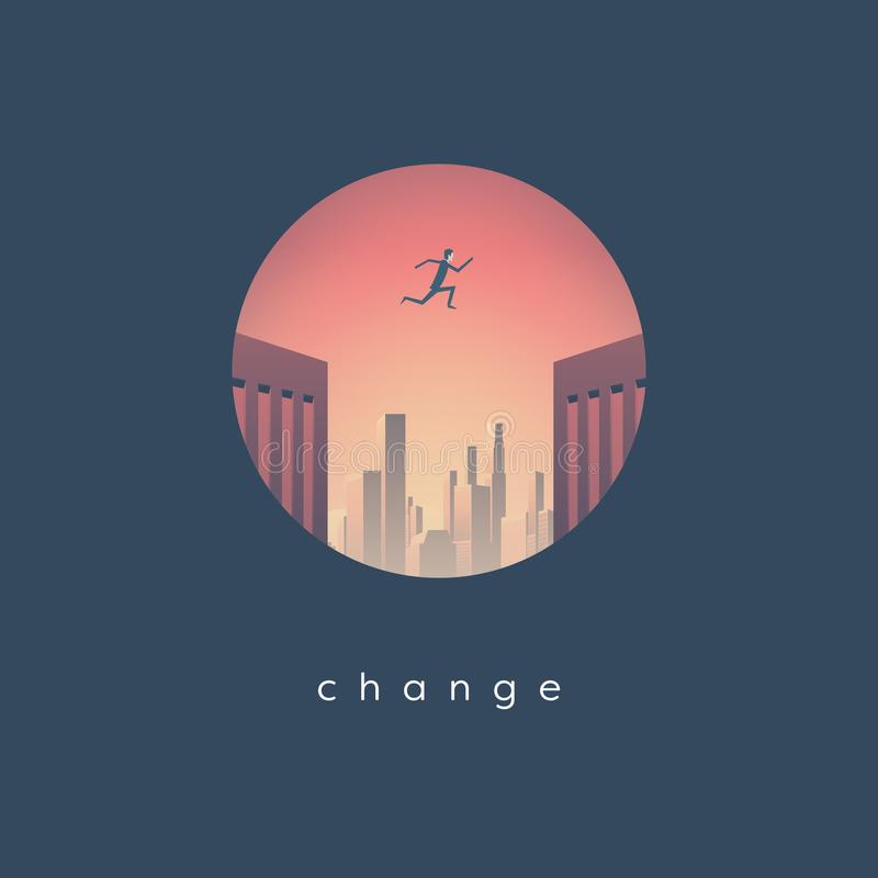 Kariery zmiany biznesowy wektorowy pojęcie z biznesmena doskakiwaniem od jeden drapacza chmur inny Symbol wyzwanie ilustracja wektor