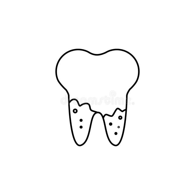 Karies i rota av kawaiitandsymbolen Stomatologytecken Tandvårdsymbol Anteckningsbok-, kalender- och kugghjultecken Nedladdningarr vektor illustrationer