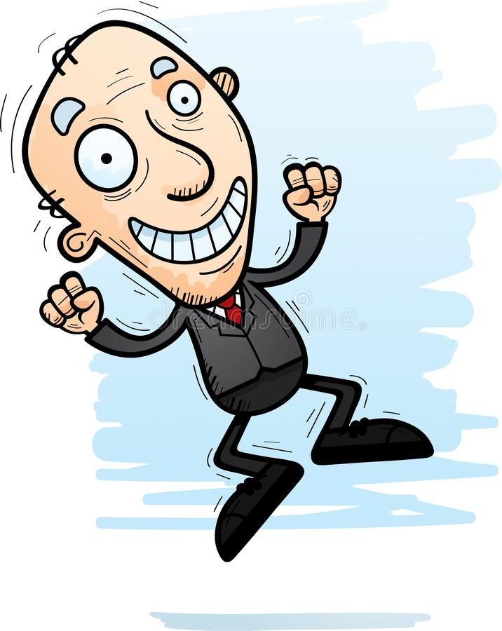 Karikatur-älterer Geschäftsmann Jumping stock abbildung