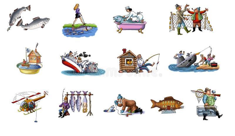 Karikatur über Fischen lizenzfreie abbildung
