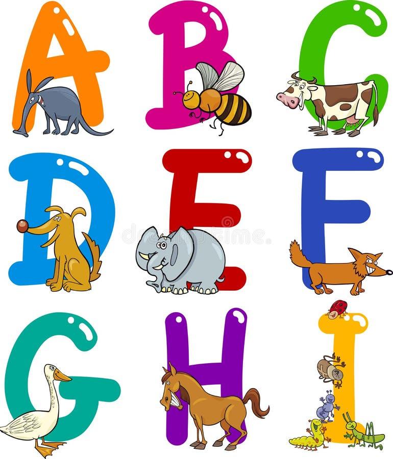 Karikatur-Alphabet mit Tieren vektor abbildung
