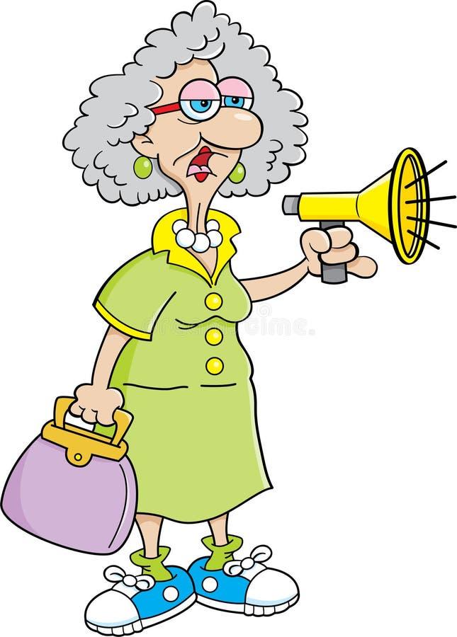 Karikatur-alte Dame mit einem Megaphon lizenzfreie abbildung
