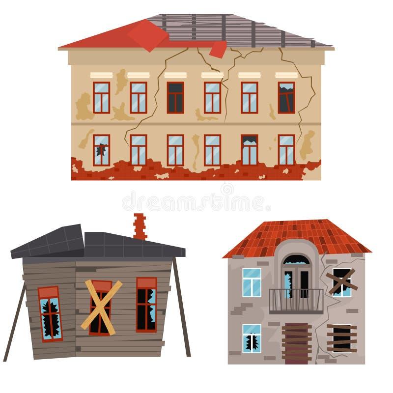 Karikatur-alte Häuser eingestellt Vektor vektor abbildung