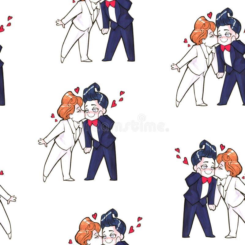 Karikatur Animeillustration Zwei glückliche gutaussehende Männer, gerade verheiratete homosexuelle Paare vektor abbildung