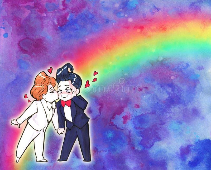 Karikatur Animeillustration Zwei glückliche gutaussehende Männer, gerade verheiratete homosexuelle Paare stock abbildung