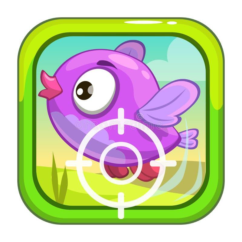 Karikatur-APP-Ikone mit lustigem Vogel stock abbildung