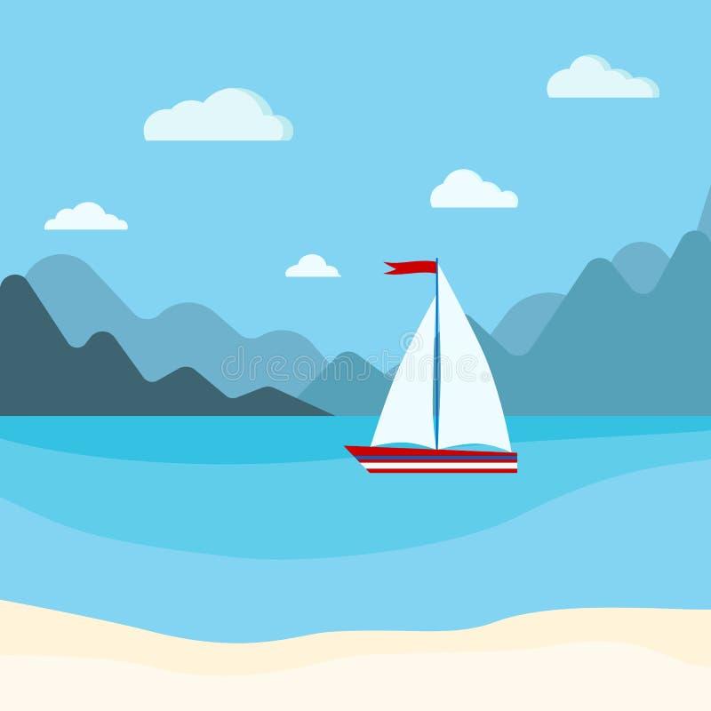 Karikatur-Artillustration des Vektors flache von blauem Meer mit Segelboot, Bergen, Wolken und Sandstrand lizenzfreie abbildung
