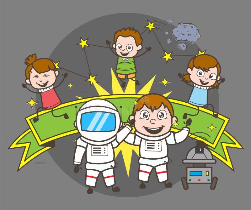 Karikatur-Astronaut mit den Kindern, die Konzept-Vektor-Illustration feiern lizenzfreie abbildung