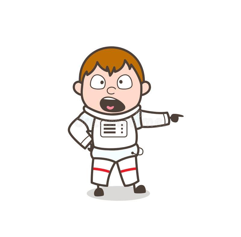 Karikatur-Astronaut Very Rudely Giving eine Bestellungs-Vektor-Illustration vektor abbildung